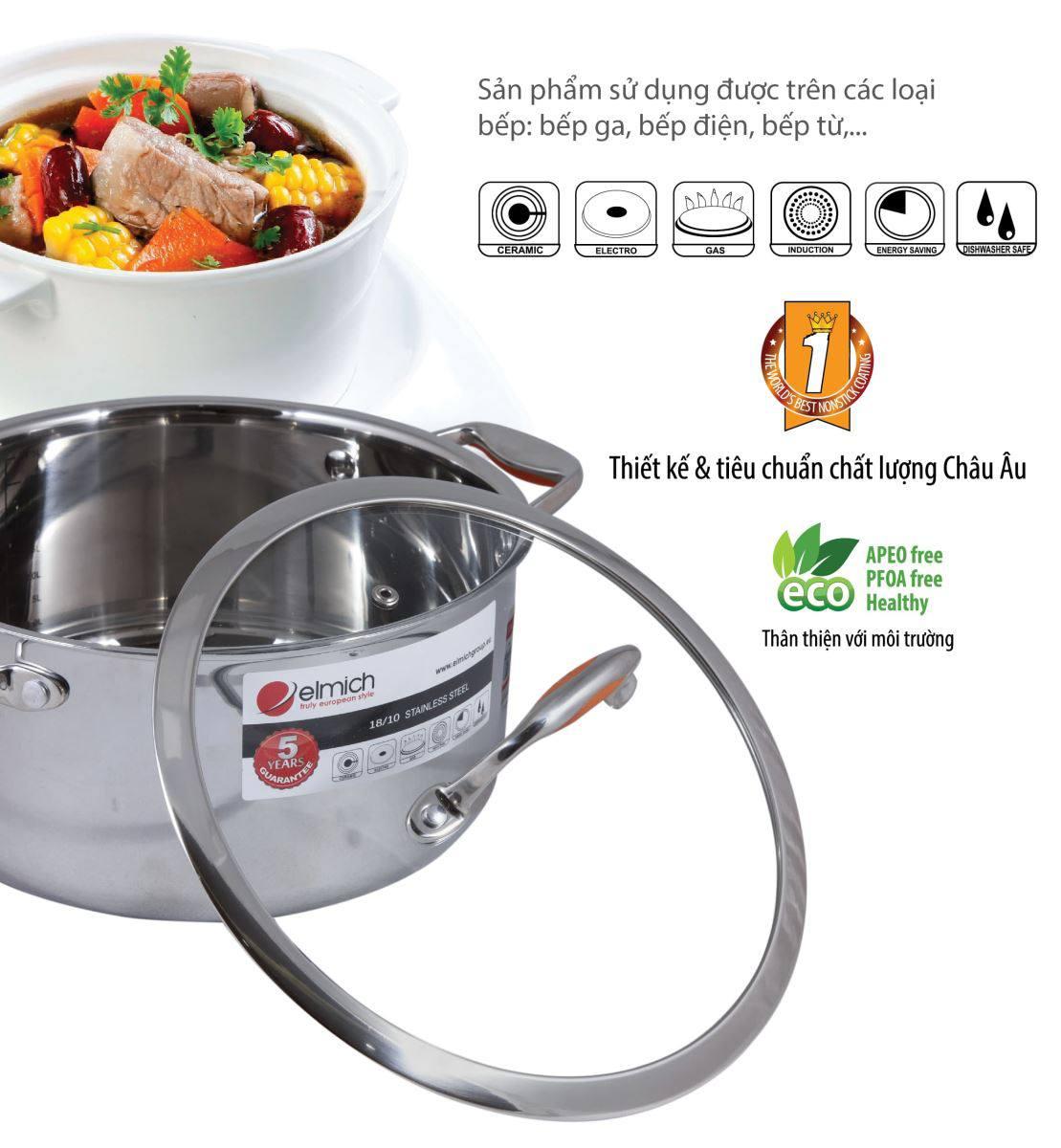 Bộ nồi inox Elmich Matador - EL0123 sử dụng chất liệu cao cấp an toàn cho sức khỏe