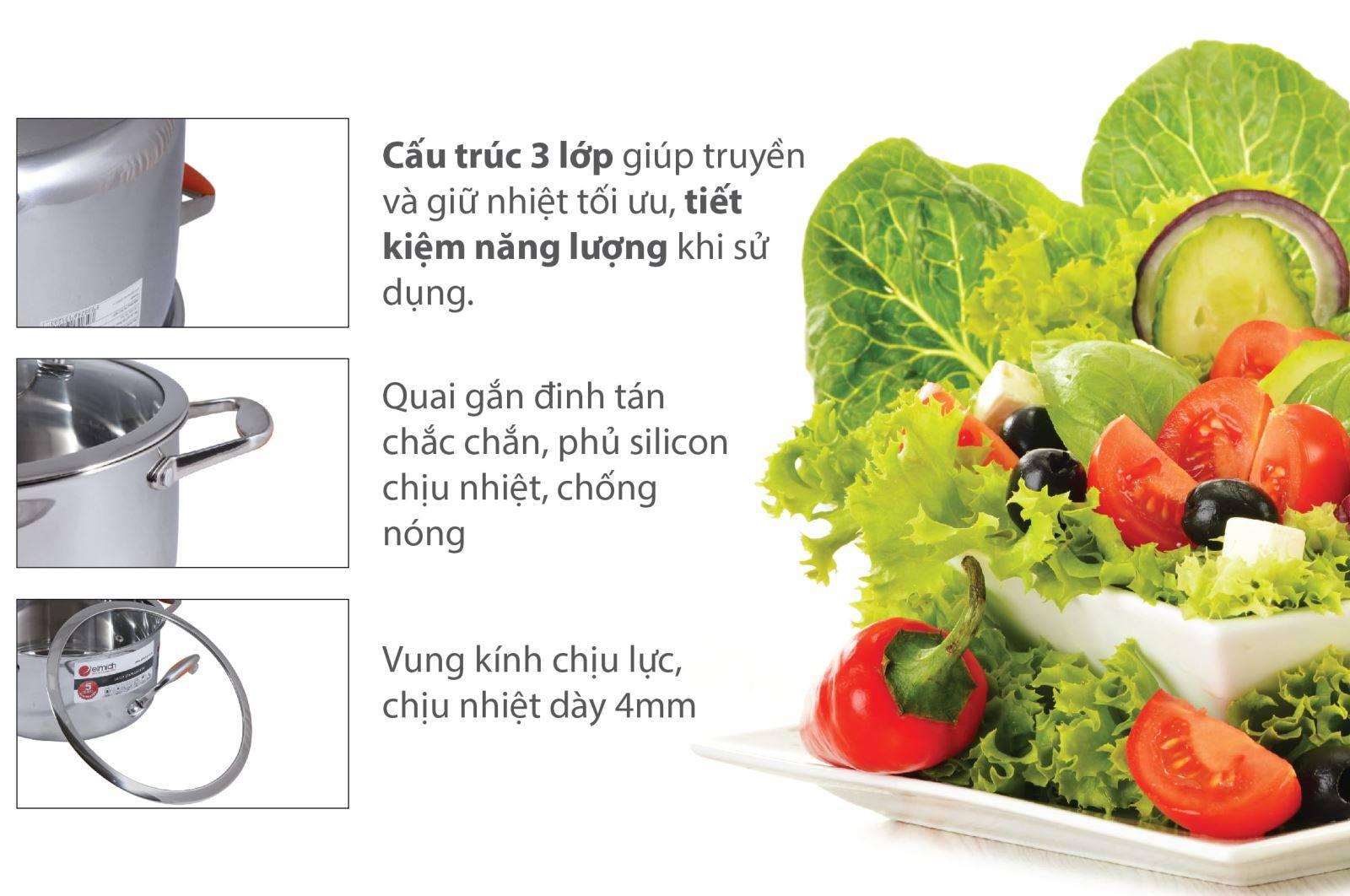 Bộ nồi inox Elmich Matador - EL0123 3 lớp liền khối giúp nấu chín thức ăn nhanh hơn