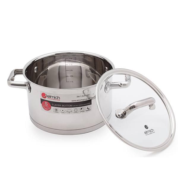 Bộ nồi Elmich 4 chiếc 5 đáy dùng bếp từ bên trong lòng nồi có vạch đo mức nước để bạn dễ dàng sử dụng