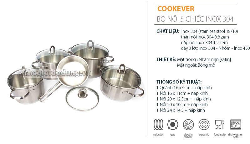 Bộ nồi Cookever Hàn quốc với 5 chiếc nồi gồm 5 cỡ khác nhau