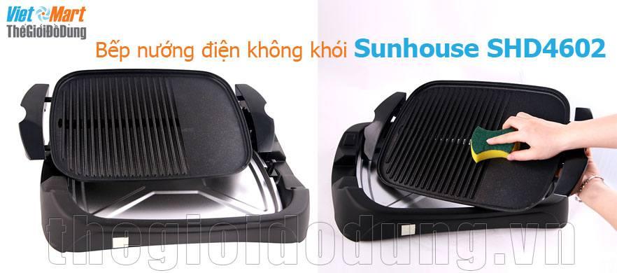 Bếp nướng điện không khói Sunhouse SHD 4602 dễ dàng tháo lắp vệ sinh