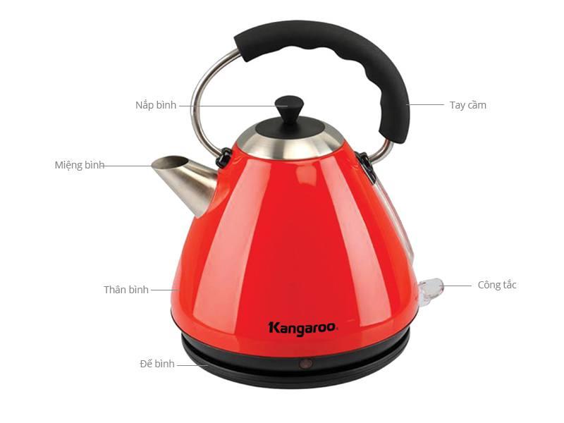 Ấm siêu tốc Kangaroo KG 640 cấu tạo đơn giản