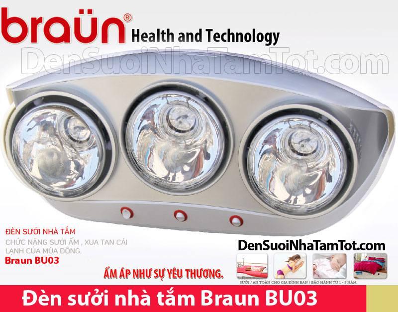 Đèn sưởi nhà tắm Braun BU03 3 bóng