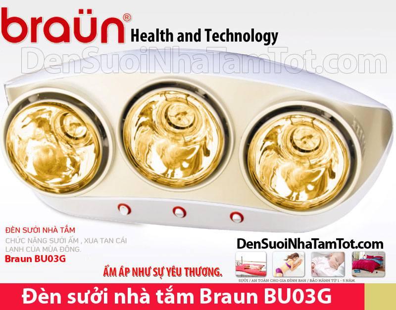 Đèn sưởi nhà tắm Braun BU03G 3 bóng vàng