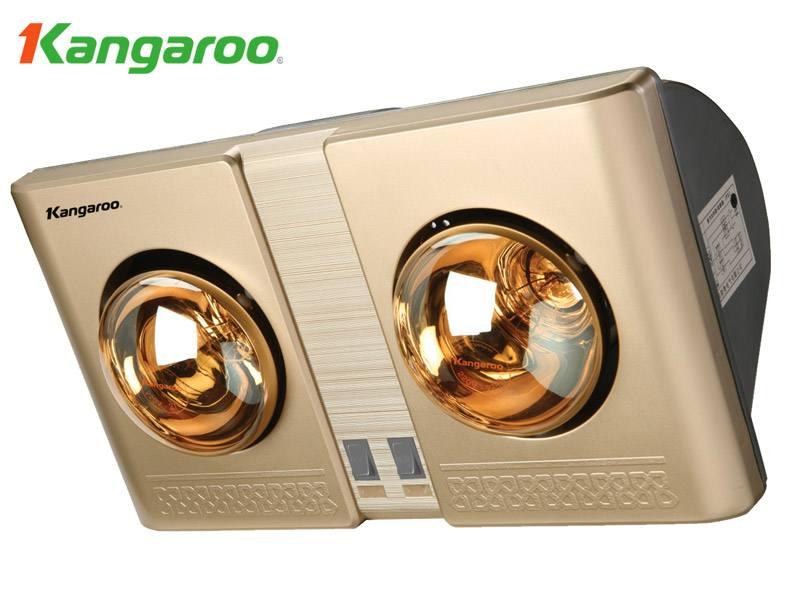 Đèn sưởi nhà tắm loại tốt Kangaroo KG247 2 bóng mạ vàng