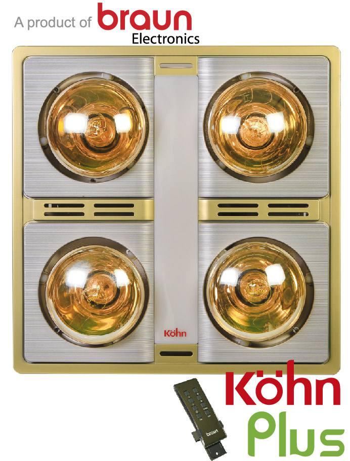 Đèn sưởi nhà tắm Kohn KN04GR có điều khiển