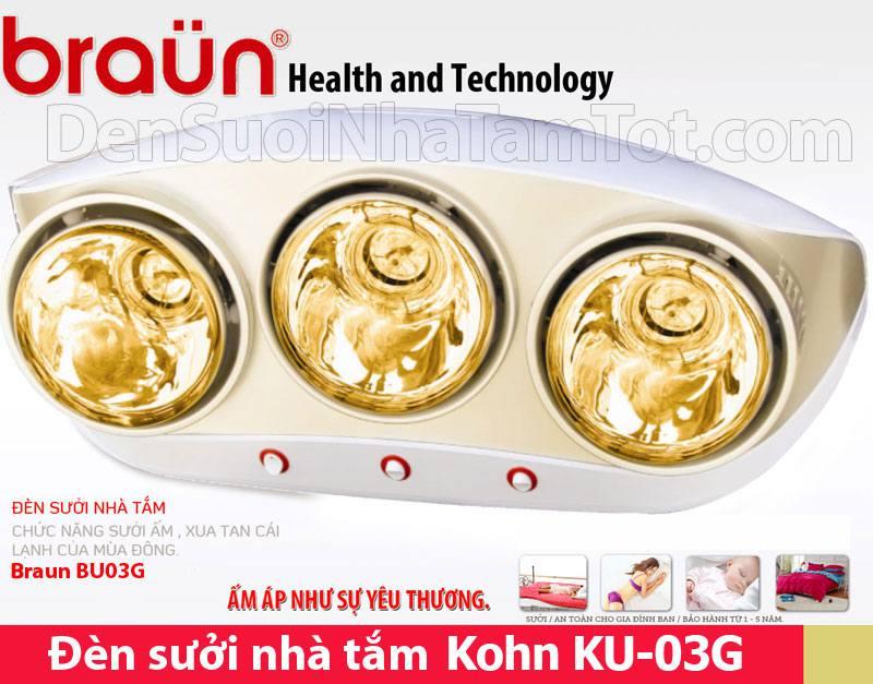 Đèn sưởi nhà tắm Braun Kohn KU03G 3 bóng hồng ngoại mạ vàng
