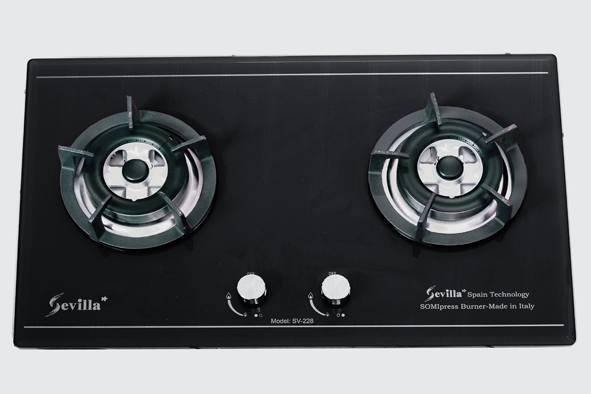 Bếp gas âm Sevilla SV-228 Black đôi bếp nấu