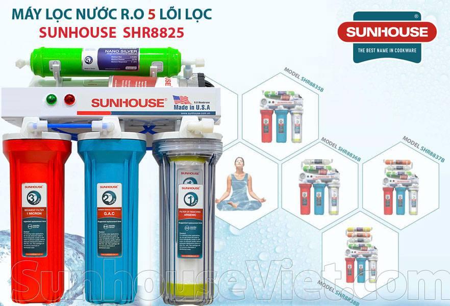 Máy lọc nước màng lọc RO Sunhouse SHR8825 5 cấp lọc, không có vỏ tủ