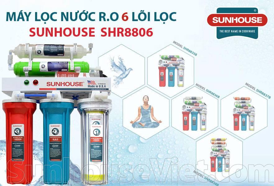 Máy lọc nước Sunhouse SHR8806 6 lõi lọc, màng lọc RO chất lượng tốt