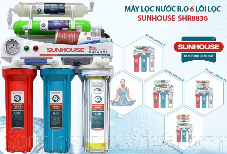 Máy lọc nước Sunhouse SHR8836 có màng lọc RO, 6 lõi lọc, tách phân tử nước, tăng oxi giúp ngăn khô da, chậm lão hóa