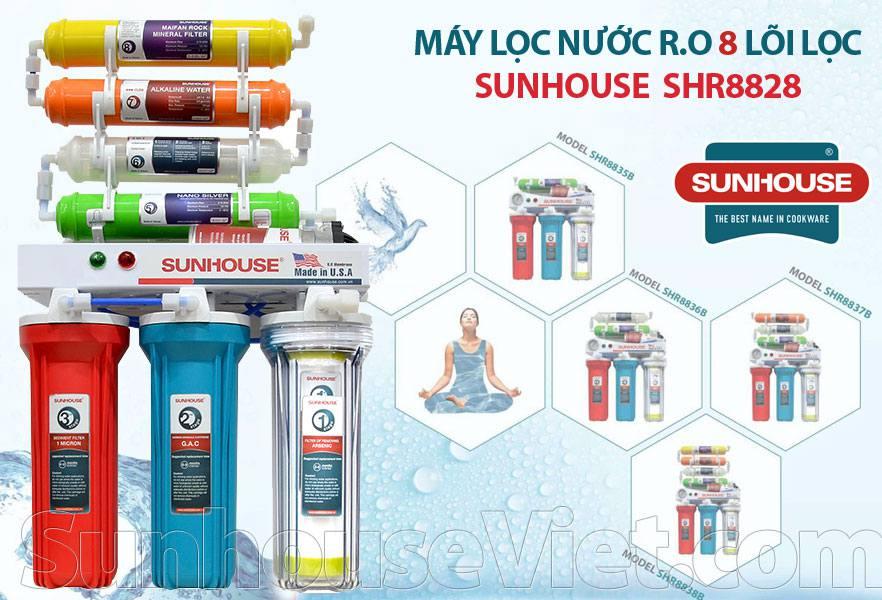 Máy lọc nước Sunhouse SHR8828, màng lọc RO có 8 lõi lọc không vỏ tủ, tự động xả thải, lõi số 8 chứa 45 loại khoáng chất có lợi cho cơ thể
