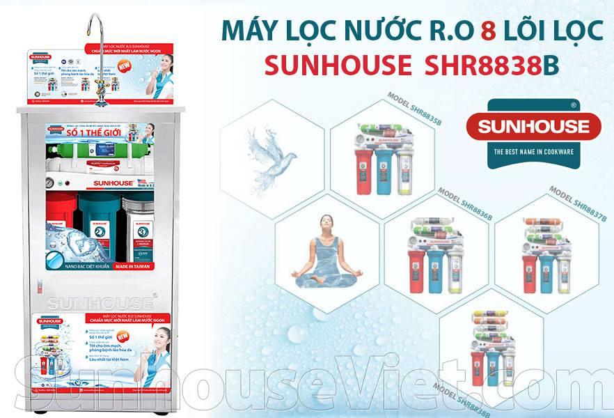 Máy lọc nước Sunhouse SHR8838B RO 8 lõi lọc chất lượng tốt