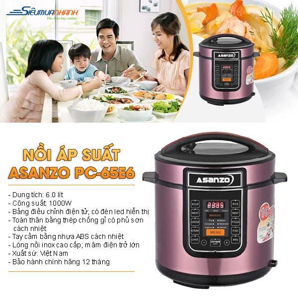 Chi tiết thông số kĩ thuật của nồi áp suất điện đa năng Asanzo PC-65E6 6 lít chất lượng tốt