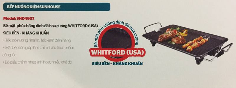 Bếp nướng điện không khói Sunhouse SHD4607 công suất cao, chống dính an toàn, 5 mức điều chỉnh nhiệt độ