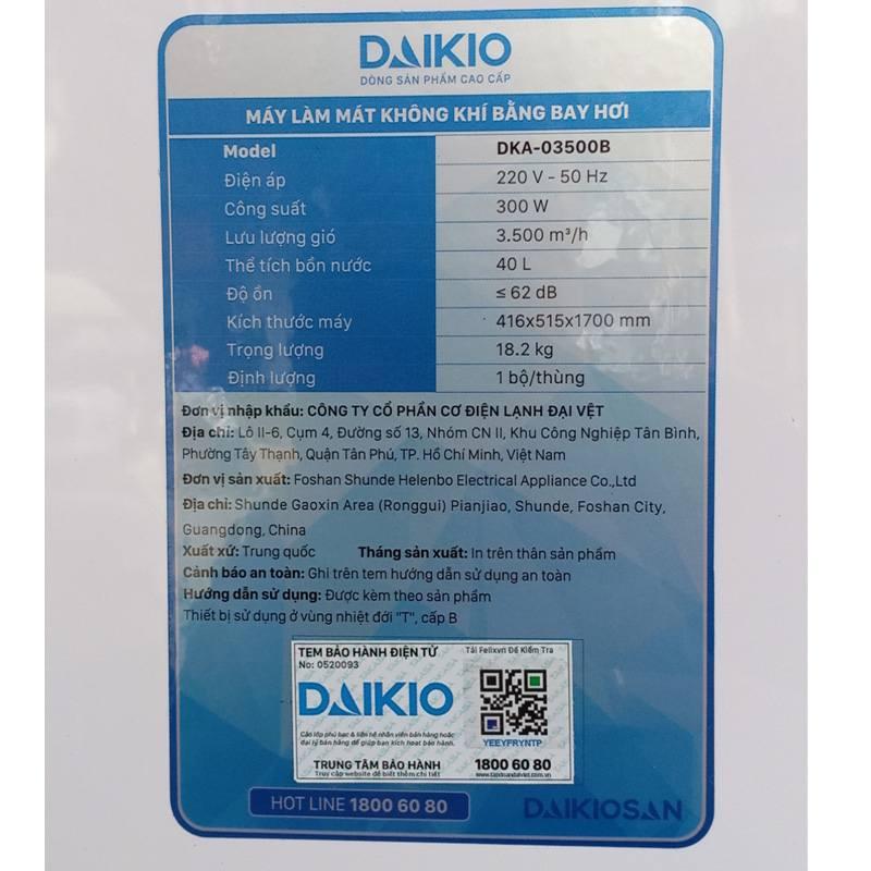 Quạt điều hòa Daikio DK-3500B thông số kĩ thuật