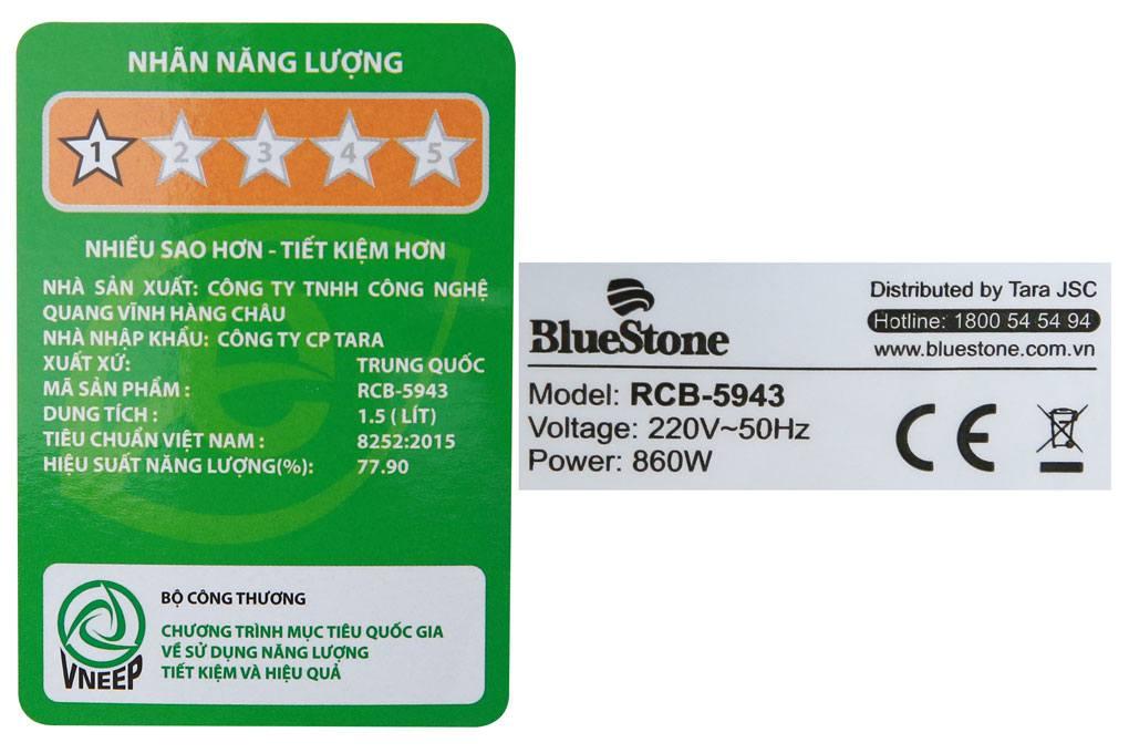 Thông số kỹ thuật của nồi cơm điện tử Bluestone RCB-5943 1,5 lít
