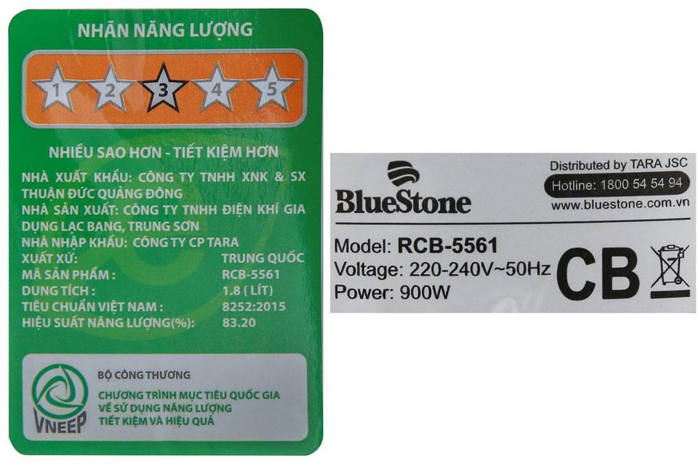 Thông số kỹ thuật của nồi cơm điện Bluestone RCB-5561